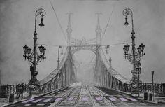 Liberty Bridge – (Budapest - Hungary), aquarelle 53 x 38, Arches 300 gr, Original - 600 Euro, Exclusive high end imprint on aquarelle paper - 100 Euro www.sandorszikszai.com Liberty Bridge, Budapest Hungary, Brooklyn Bridge, Arches, Bridges, Euro, The Originals, Paper, Travel