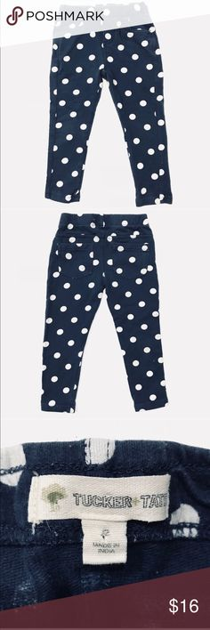 Blue and white dot girls leggings by TUCKER + TATE •Tucker + Tate navy blue (thick) leggings with white polka dots They do have false pockets; baby girl designer pants  •VGUC -  just a little color fading  •Size 2  •I am a: Posh Ambassador, top 10% seller, top rated seller, Posh mentor & ship same day/next day!  ⭐️❤️FREE Matching hair accessory with purchase!❤️⭐️ •Comes from smoke & pet free home •Browse my closet for dozen of amazing designers such as.. tucker + Tate, Tea Collection, Mini…