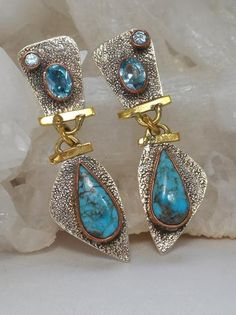 *Copper Turquoise Blue and Sterling Earring Set with Blue Topaz - Andrea Jaye Collection