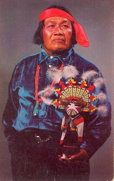 """Hopi Indian Holding a Kachina Doll The Hopi or """"Peaceful People"""" are very industrious farmers and craftsmen. The Balhiknana Kachina is a beautiful specimen, which is a minature duplicate of Hopi Indian Dancers. Native American Pictures, Native American Beauty, Native American Crafts, Native American Tribes, Native American History, Indian Tribes, Native Indian, Native Art, Navajo"""