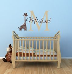 Name and Initial Vinyl Wall Decals Giraffe Wall Decals