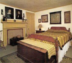 Samplers, coverlets and hooked rug. Primitive Country Bedrooms, Primitive Homes, Primitive Bedding, Farmhouse Bedrooms, Cozy Bedroom, Dream Bedroom, Bedroom Decor, Bedroom Ideas, Prim Decor