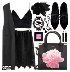 """Black is such a happy color... with Shein!"" by pastelneon ❤ liked on Polyvore featuring Calvin Klein, T By Alexander Wang, Faith Connexion, Tom Ford, Chanel, Bobbi Brown Cosmetics and Monet"
