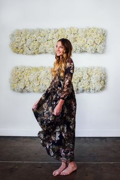 Spring Bouquet Chiffon Maxi Dress Navy
