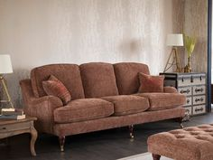 Comfortable and stylish! #ParkerKnoll  Parker Knoll Seaton sofa range in plaid fabric pattern.