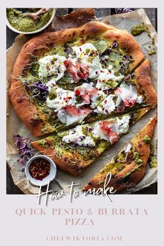 Make it tonight a pizza night with this Pesto Potato and Burrata Pizza. Fresh pesto, crispy potatoes, creamy burrata and fatty lardo. The dough just needs one hour to rise, so you nearly beat the delivery guy, safe money, eat healthier, safe the environment, educate yourself and tell your family you always knew how to do it ❤ pizza dough recipe   pizza dough recipe easy   pizza thin crust   thin crust pizza dough recipe easy   quick pizza recipe   Quick Recipes, Pizza Recipes, Quick Easy Meals, Appetizer Recipes, Savoury Recipes, Baking Recipes, Easy Homemade Pizza, Homemade Pesto, Thin Crust Pizza