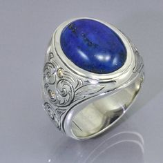Hand Engraved Sterling Silver Ring with Lapis Center and Diamond Side Stones on Etsy, $671.33 CAD
