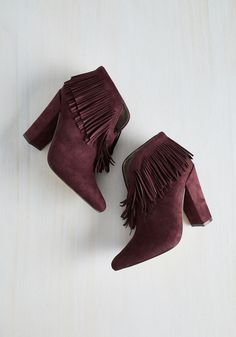 Kick-Me-Up Bootie in Burgundy. Youve got the elixir for ensemble euphoria, and the recipe lies in these burgundy, block-heeled booties! #red #modcloth