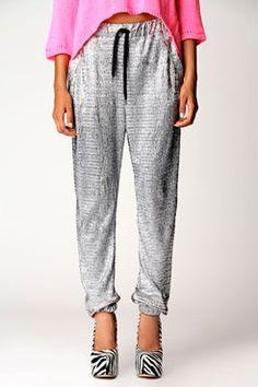 FOIL ME BABY with a Scarlett Silver Metallic Draw Cord Pyjama Trousers