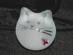 Heart Cat by GlassCatsStudios on Etsy, $88.00