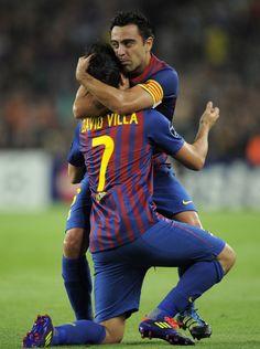 David Villa and Xavi Hernandez, FC Barcelona.