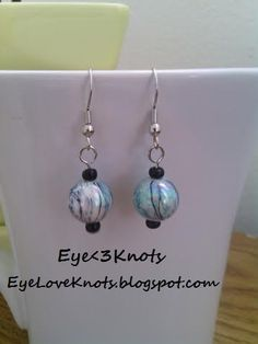 Lightweight Small Round Blue Swirl Dangle Earring. Perfect for Sensitive Ears - Hypoallergenic! Sterling Silver Available.