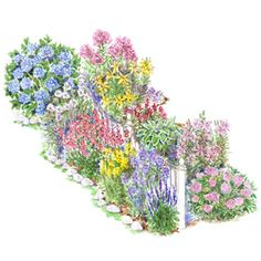 Garden Plans for Cottage Style;    This mix of annuals and perennials is an ideal way to soften a fence and provide months of color and cut flowers. Garden size: 6 by 22 feet.