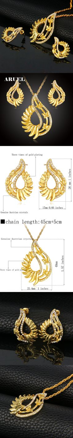 ARUEL Luxury Jewelry Sets For Women Gold Color Butterfly Austrian Crystal Necklace Earrings Fashion Party Wedding Bijoux Gifts