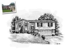 Home Sketch / House Sketch Art From A Photo - only from GiveAmasterpiece.com / Art Gallery Home Examples
