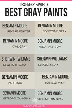 Find the best light gray paint colors for your neutral home palette! See Sherwin Williams gray paint colors and Benjamin Moore best gray paint colors compared including pale oak, balboa mist, classic gray and edgecomb gray! Interior Paint Colors For Living Room, Paint Colors For Home, House Colors, Interior Painting, Paint Colors For Basement, Wall Colors, Light Grey Paint Colors, Best Gray Paint Color, Warm Gray Paint