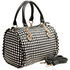 Amazon.com: MG Collection Sissela Rhinestone Accents Doctor Style Bowler Shoulder Bag, Black/White, One Size: Shoes