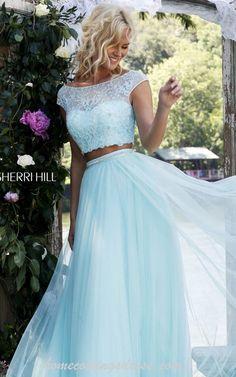 Light Blue Sherri Hill 50038 Two Piece Homecoming Dress 2016