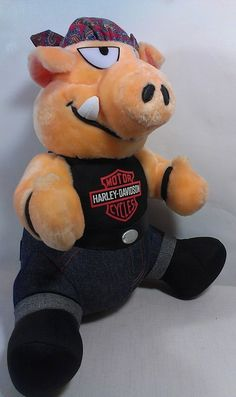 Harley Davidson Biker Motorcycle Play by Play Stuffed PIG Animal Plush Toy HOG  #HarleyDavidsonMotorcyclePlaybyPlay