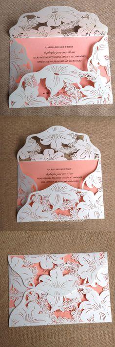 Lily blossom laser cut wedding invitations, 2016 New design laser cut wedding invitations, blush pink laser cut cards www.cweddinginvitations.com