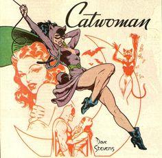 Catwoman and Batman by Dave Stevens Batgirl, Batman Und Catwoman, Joker, Original Catwoman, Comic Book Characters, Comic Character, Comic Books Art, Catwoman Character, Catwoman Cosplay