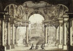 Design for a stage set and proscenium arch for a performance of the opera 'La Clemenza di Tito', Act 1 Scene 1, Lisbon Opera House (Opera do Tejo or Phoenix Opera): perspective view of an atrium with a palace seen beyond. JC [RIBA35668]