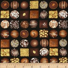 Chocoholic Boxed Chocolate Black from @fabricdotcom  Designed by Maria Kalinowski for Kanvas Studios in association with Benartex, this cotton print is perfect for quilting, apparel and home decor accents. Colors include white and shades of brown on black with metallic gold accents throughout.