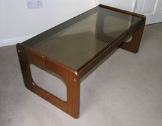 "Vtg 1970s Danish-style solid teak coffee table smoked glass top, 38¼"" long"