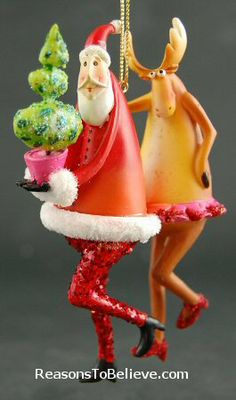 Festive Dancing Santas--3 dancing Santa ornaments - fun, frilly, festive and funky. Cha cha with the moose, high-step with the chicken/rooster, and arm-arm frills with the frog. Add a little fun and flair to someone's tree!