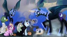 """In response to: Luna: """"Oh, most vampire I encounter are rather adorable and can be fended off with candy. Royal Sketchbook: Nightmare Night in Canterlot Nightmare Night, Nightmare Moon, Princess Celestia, Princess Luna, Haunted Maze, My Little Pony Princess, Luna Moon, Drip Painting, Happy Halloween"""