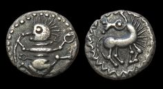 """Rare Celtic 'Dancing Manikin' Coin, 65 BC - 1 ADAccording to its weight, this odd little Celtic silver coin is a quinarius. After the charming depiction on the obverse, it is known as the """"quinar with..."""