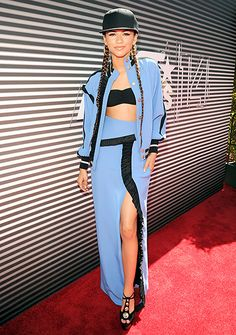 Zendaya Coleman went bold in a light blue jacket and skirt by Emanuel Ungaro at the 2014 BET Awards.