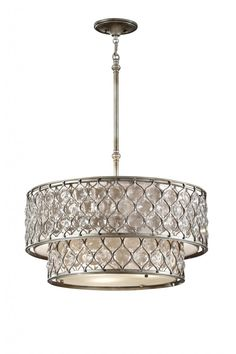"""Lucia 2 Tier Pendant (As Shown) D: 24.5"""" H: 12.375"""" Adj. H: 14""""-56"""" Lamp: (6) 100w Med. Base Finish: Burnished Silver Also Available In: Flu..."""