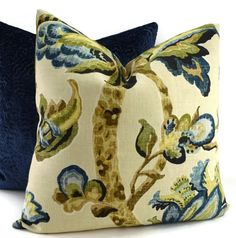 Throw Pillow Cover, Navy, Indigo, Gold, Brown, Tan, Green & Cream Linen Palm Tree Pillow Cover, 20x20, Schumacher