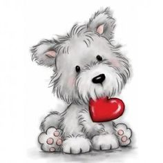 Wild-Rose-Studio-Clear-Rubber-Stamps-Scotty-Westie-Dog-With-Heart-503