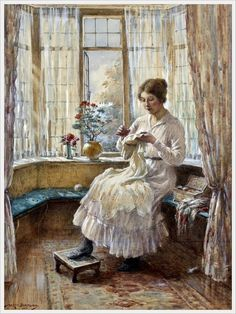 William Kay Blacklock (British, 1872 - 1924) «Lady sewing seated by a window» 1917