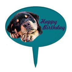 Rottweiler Puppy Love Rott Dog Canine German Breed Cake Topper - home decor design art diy cyo custom