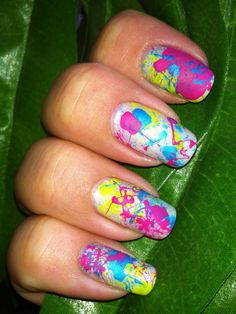 Paint Splatter Manicure! Can't get enough of this look. #spring2013