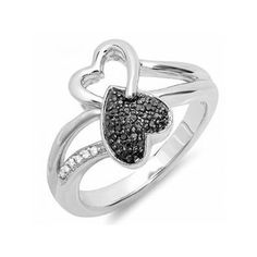 0.15 Carat (ctw) Sterling Silver Round Black & White Diamond Ladies... ($59) ❤ liked on Polyvore featuring jewelry, sterling silver, infinity heart jewelry, black jet jewelry, kohl jewelry, heart shaped jewelry y polish jewelry
