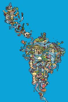 Latin America map   Brasil, Chile, Colombia, Argentina, Bolívia, México, Uruguai ... Mais