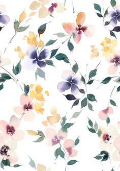 Romantic watercolor floral pattern Seamless watercolor floral pattern with abstract watercolor florals. Watercolor Pattern, Abstract Watercolor, Watercolor Flowers, Floral Watercolor Background, Cute Wallpaper Backgrounds, Flower Backgrounds, Floral Wallpaper Iphone, Floral Pattern Wallpaper, Summer Backgrounds