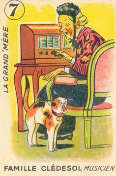The Musician - Grandma and her cat | playing card, 1940-50