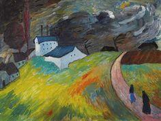 Marianne von Werefkin (Russian, 1860 - 1938): Rural landscape with two women