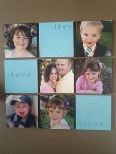 """DIY canvas gallery wall for cheap : 12×12 photos printed at Costco ($ 3.99 each), then glued (spray adhesive works best to prevent air bubbles) onto 12"""" canvas from Michael's, add black ribbon around edges to finish nicely. Glue wooden letters of choice onto blank canvas, spray paint in desired color. Hang on wall using 3M command Velcro strips. Total cost: about $35.00"""