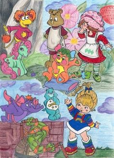 Things from the 80's that I love! My little ponies, teddy ruxbin, strawberry shortcake, popples, rainbow brite, care bears