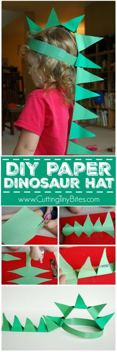 DIY Paper Dinosaur Hat. Simple paper craft made with easy materials for preschoolers, kindergarteners, or elementary kids. Great for pretend play, or a dress-up costume! #DIYArtsandCrafts