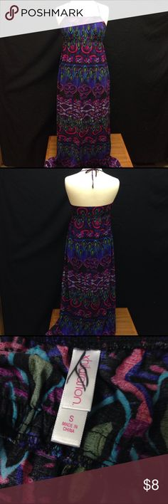 xhilaration Halter Maxi Dress Bust 30 Length 50. This dress is in great condition. Has no rips stains or tears has a slight bit of wear but nothing serious. Xhilaration Dresses Maxi