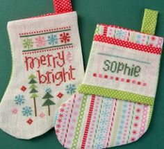 """From Lizzie Kate Quick It Series are these two little stocking cross stitch patterns titled """"Tiny Stocking Quick It"""". So quick that you still have time to stitch them up and finish as you like."""