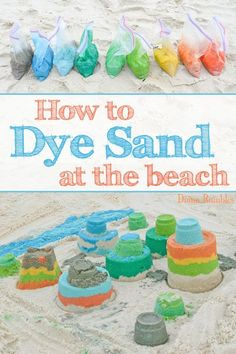 How to Dye Sand at the Beach How To Color Dye Beach Sand Tutorial - Learn how to dye sand with food coloring and make colorful sand castles and other beach arts and crafts. Create a rainbow of fun colors. It's perfect for Spring Break or summer trips! Kids Beach Activities, Beach Crafts For Kids, Beach Kids, Summer Crafts, Crafts For Teens, Kids Crafts, Art For Kids, Fun At The Beach, Beach Sand Crafts
