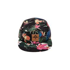 LRG The Hawaiian Safari 5-Panel Hat in Black ($21) ❤ liked on Polyvore featuring men's fashion, men's accessories, men's hats, hats, mens safari hats and mens 5 panel hat